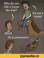 it's a unicoooorn Why do you ride a horse|.l 1 like that?